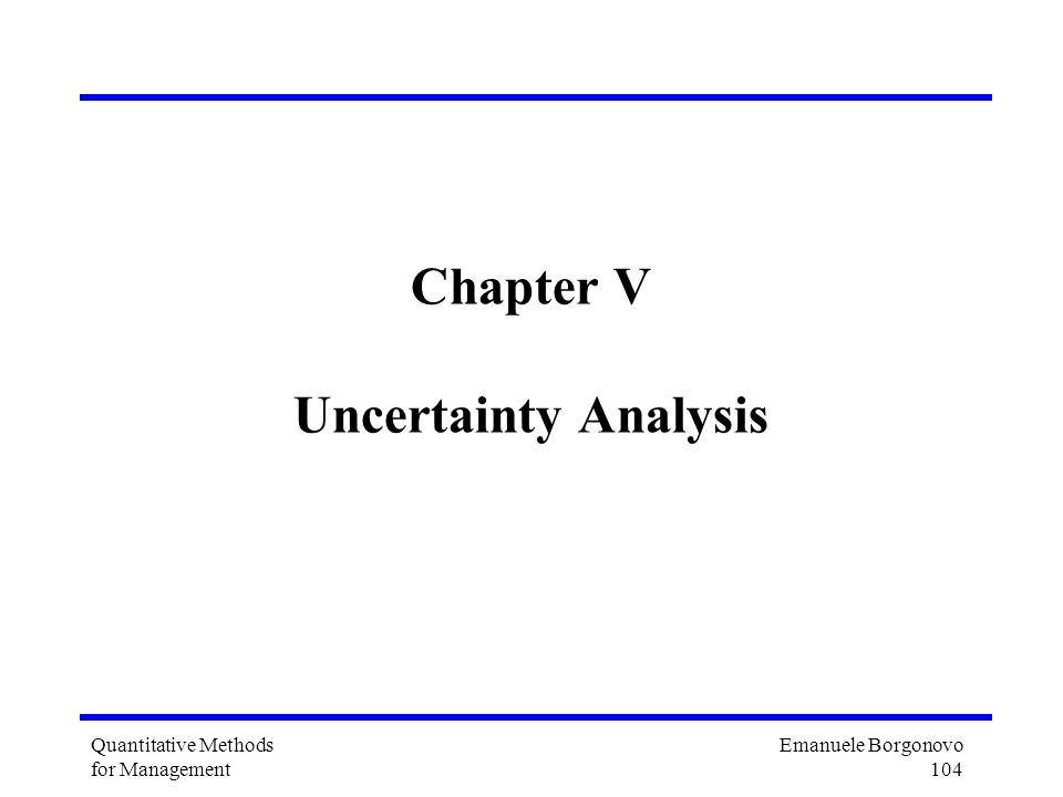 Chapter V Uncertainty Analysis