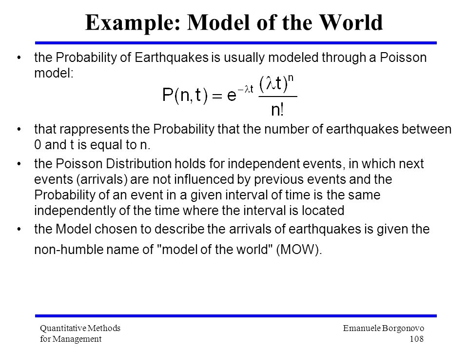 Example: Model of the World