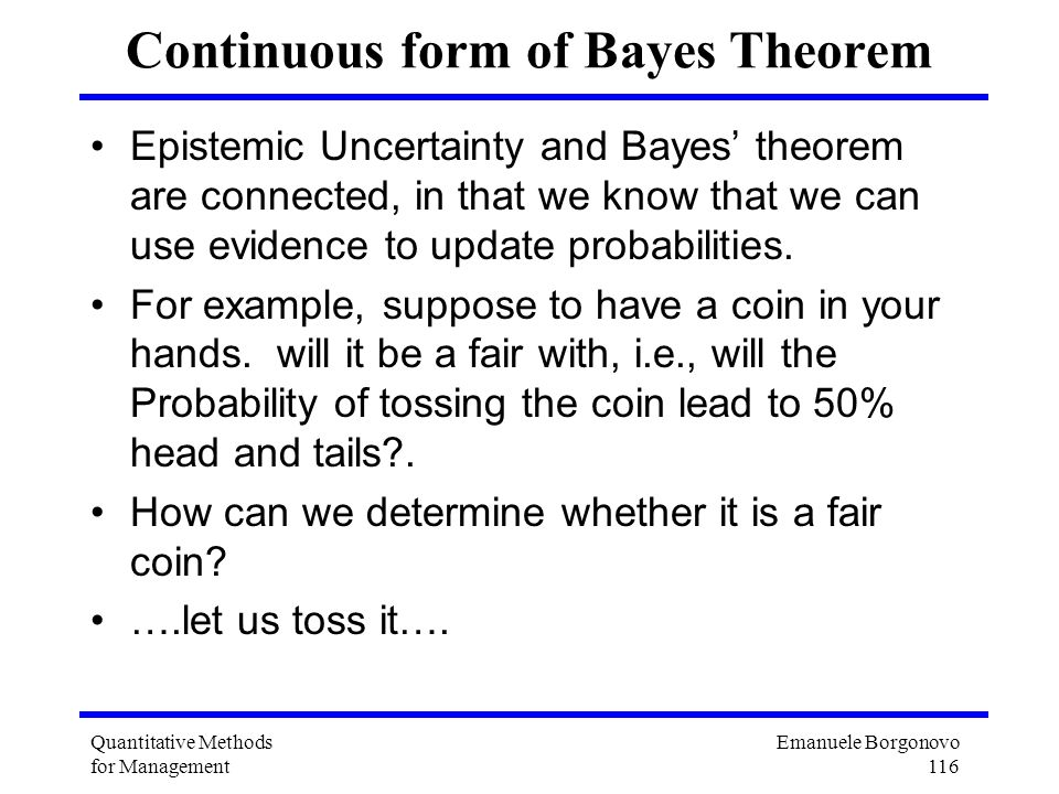 Continuous form of Bayes Theorem