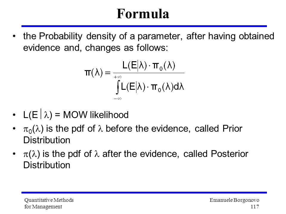 Formula the Probability density of a parameter, after having obtained evidence and, changes as follows: