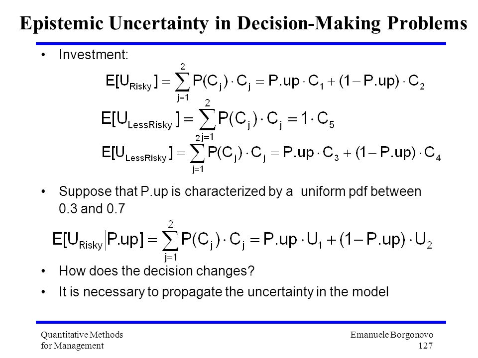Epistemic Uncertainty in Decision-Making Problems