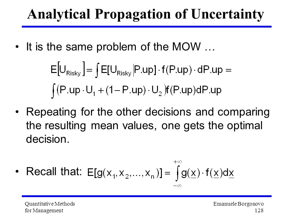 Analytical Propagation of Uncertainty