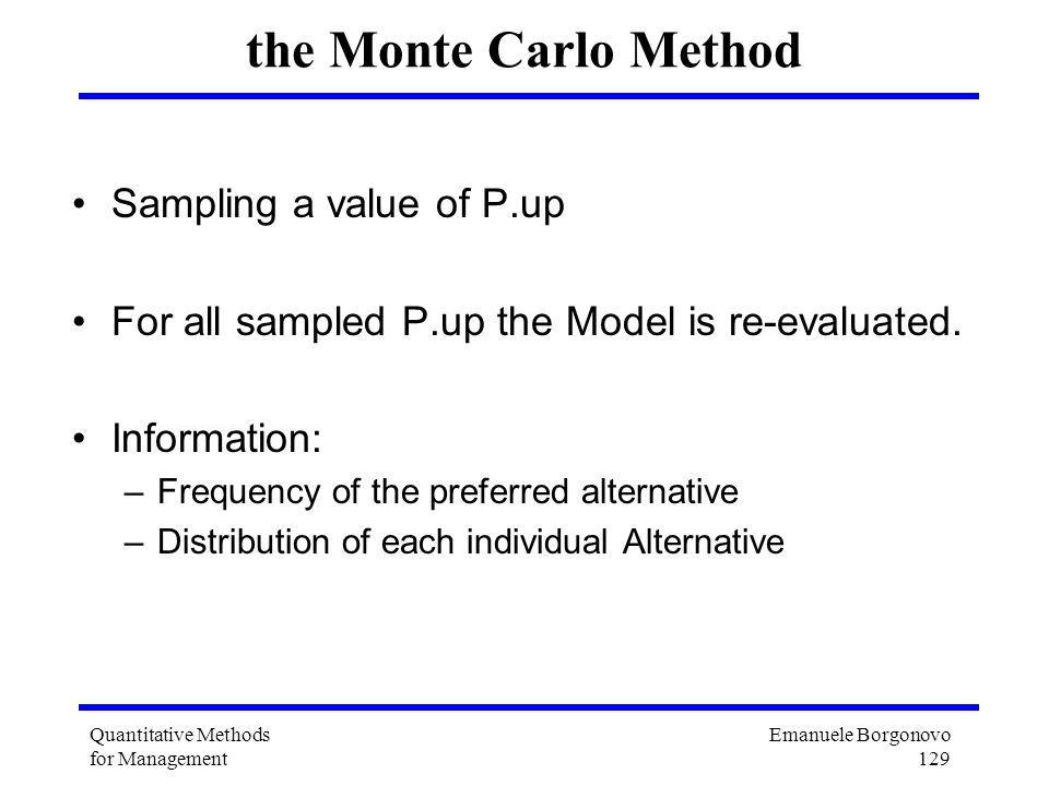the Monte Carlo Method Sampling a value of P.up