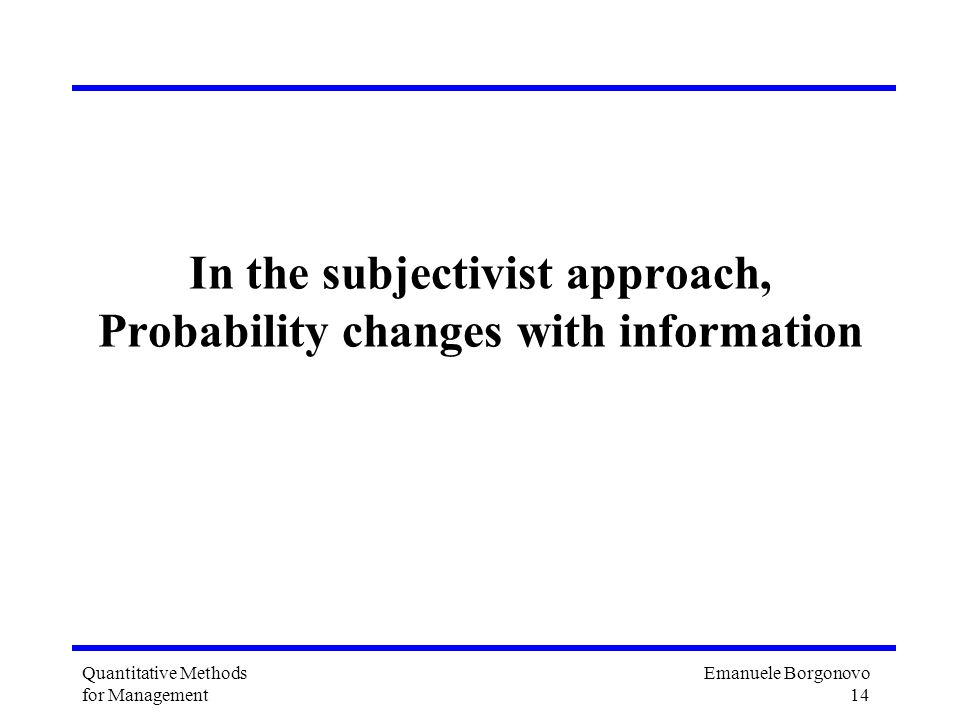 In the subjectivist approach, Probability changes with information