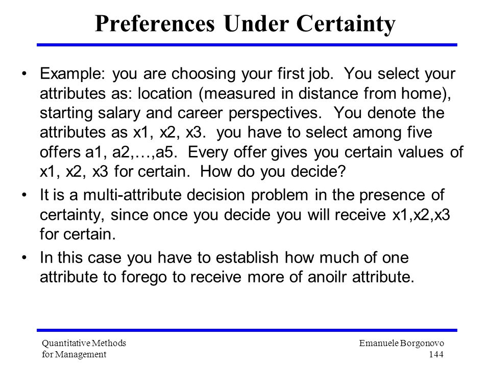 Preferences Under Certainty