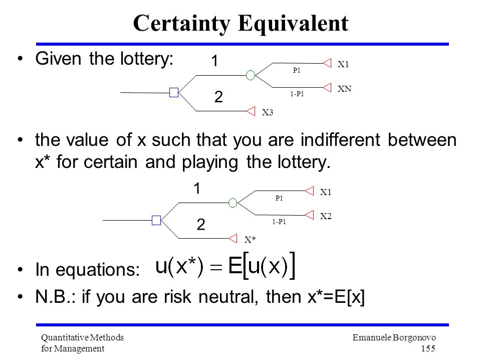 Certainty Equivalent Given the lottery: