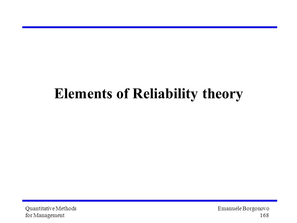 Elements of Reliability theory