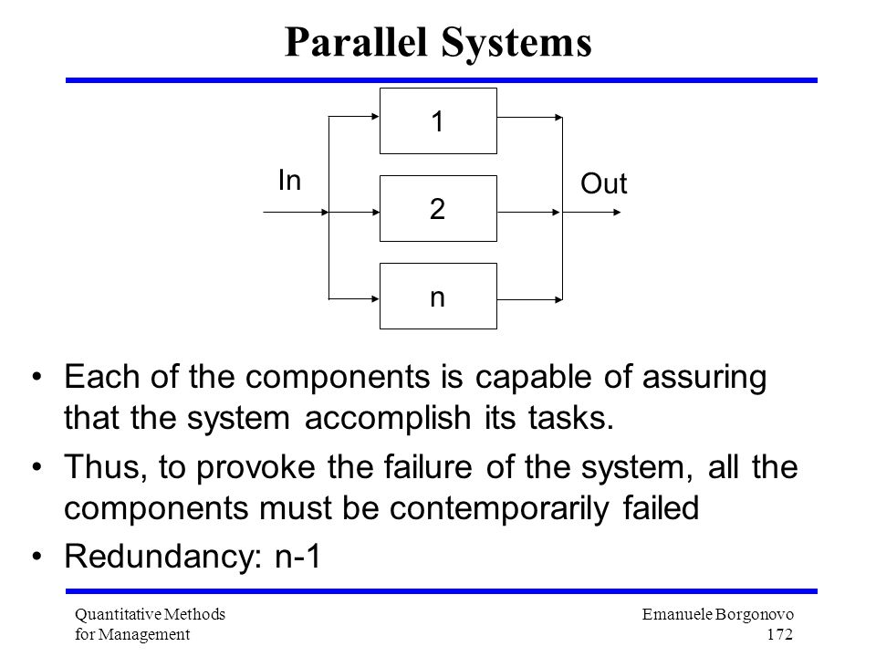 Parallel Systems 1. 2. n. In. Out. Each of the components is capable of assuring that the system accomplish its tasks.