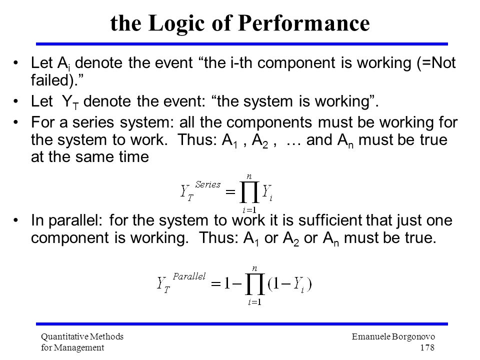 the Logic of Performance