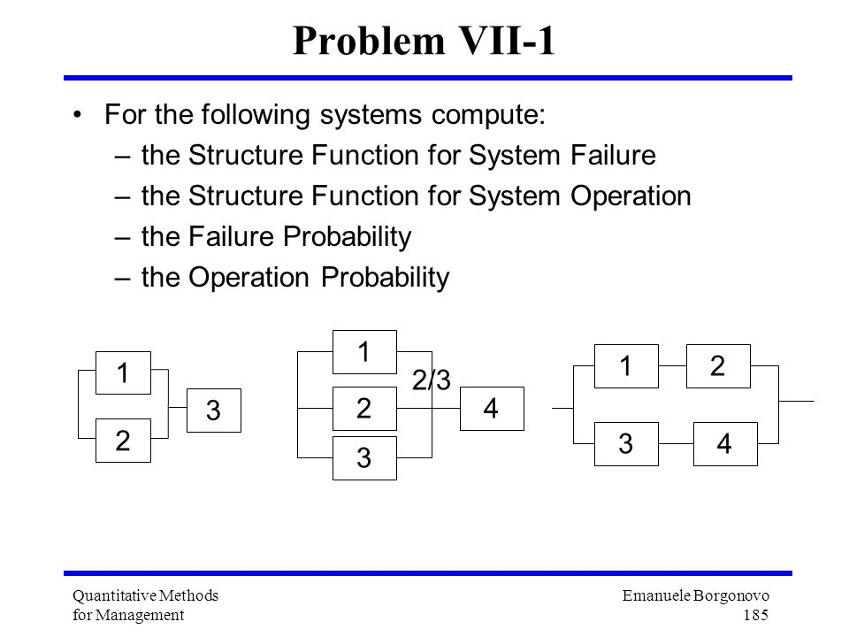 Problem VII-1 For the following systems compute: