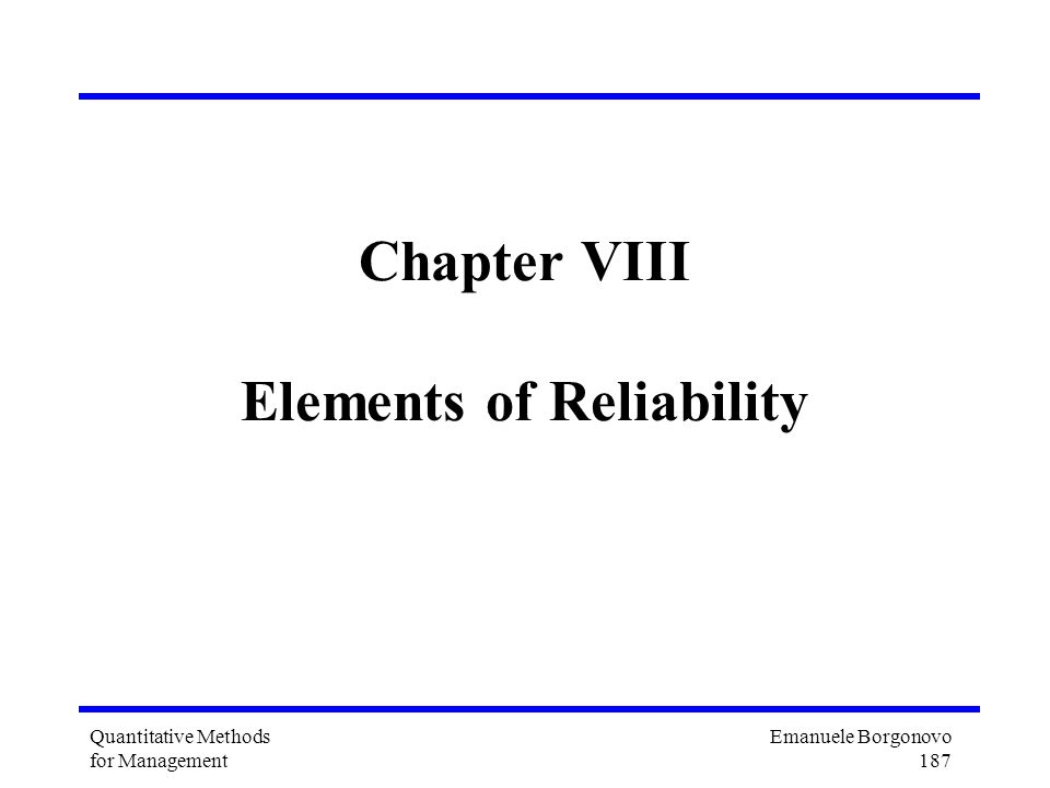 Chapter VIII Elements of Reliability