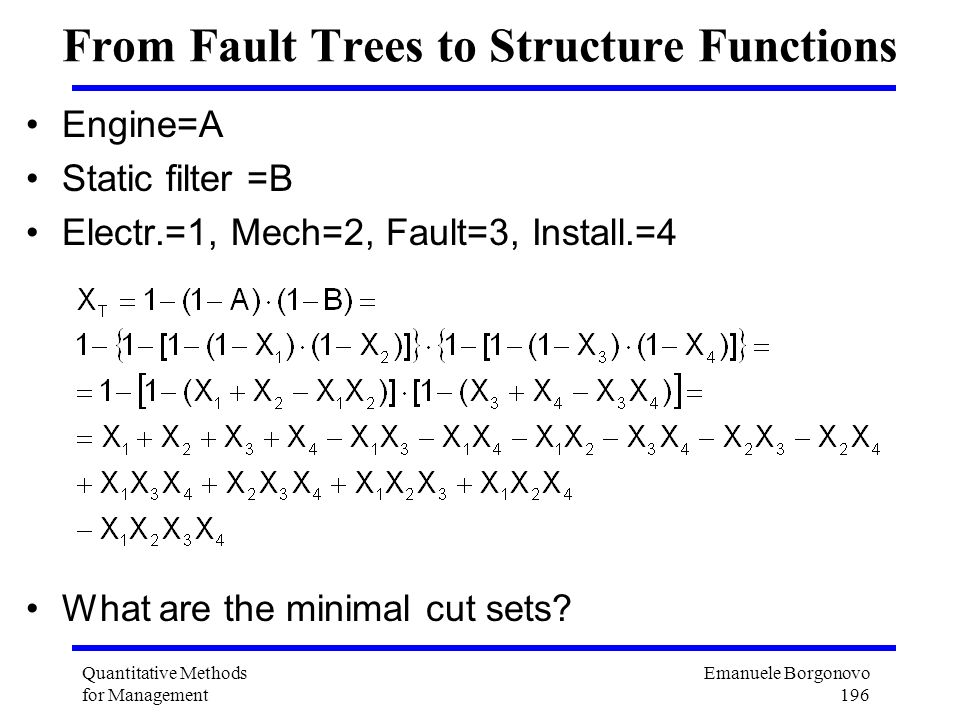 From Fault Trees to Structure Functions