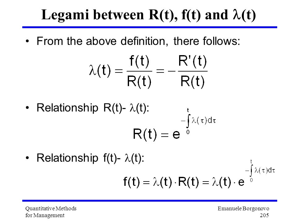 Legami between R(t), f(t) and (t)