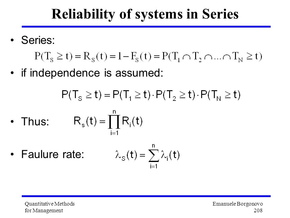 Reliability of systems in Series