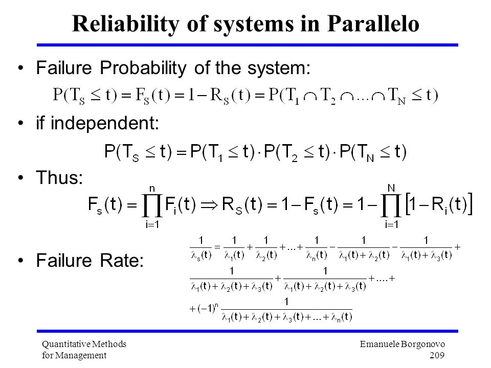 Reliability of systems in Parallelo