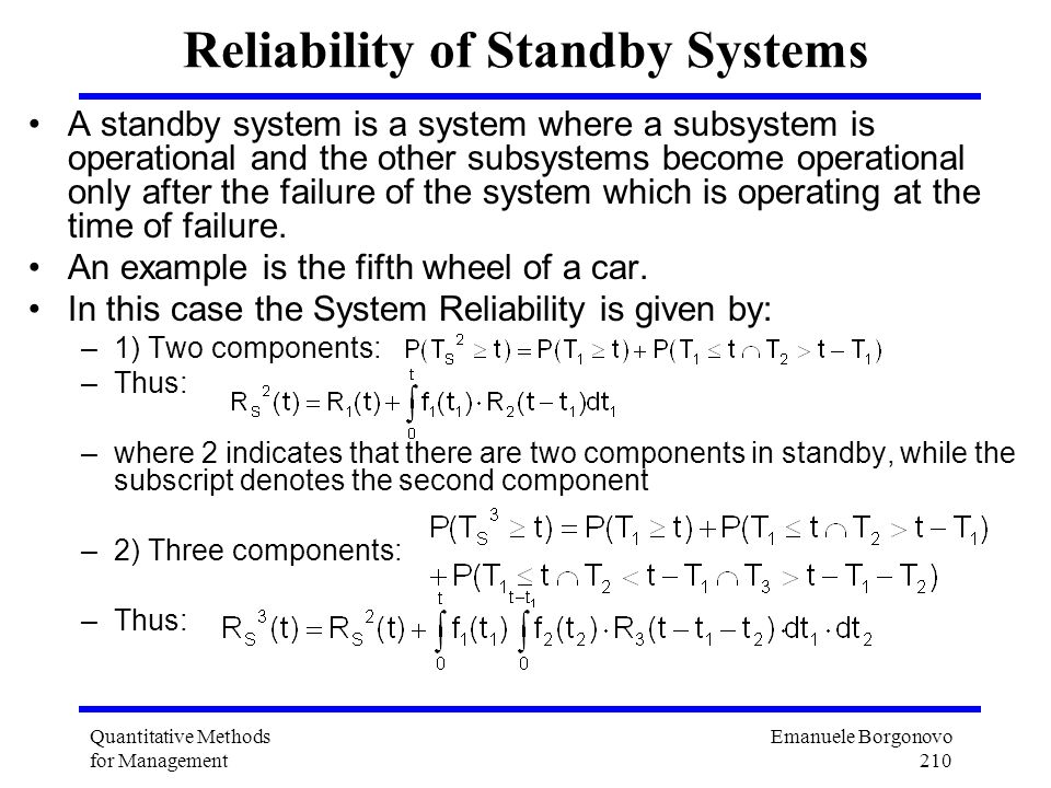 Reliability of Standby Systems