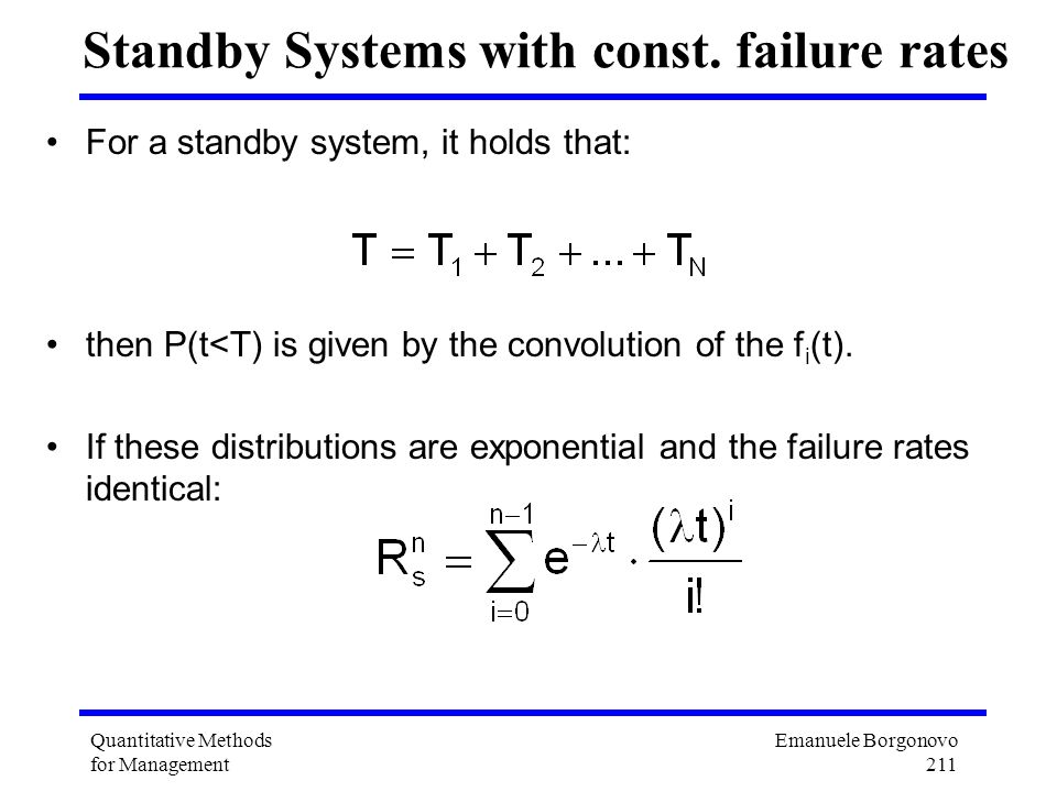 Standby Systems with const. failure rates