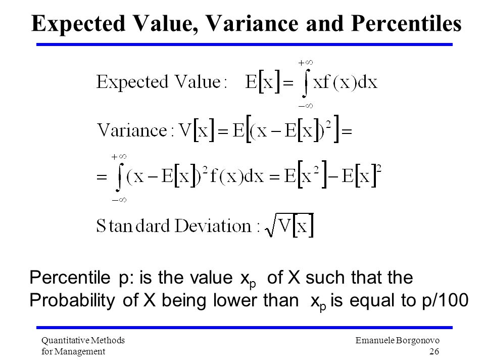 Expected Value, Variance and Percentiles