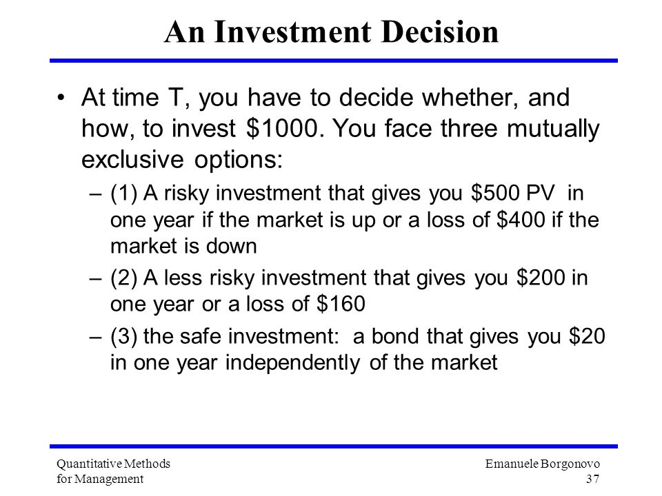 An Investment Decision