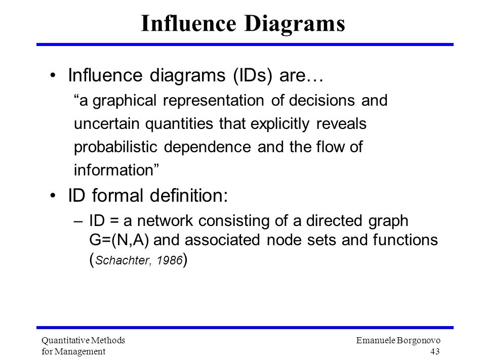 Influence Diagrams Influence diagrams (IDs) are… ID formal definition: