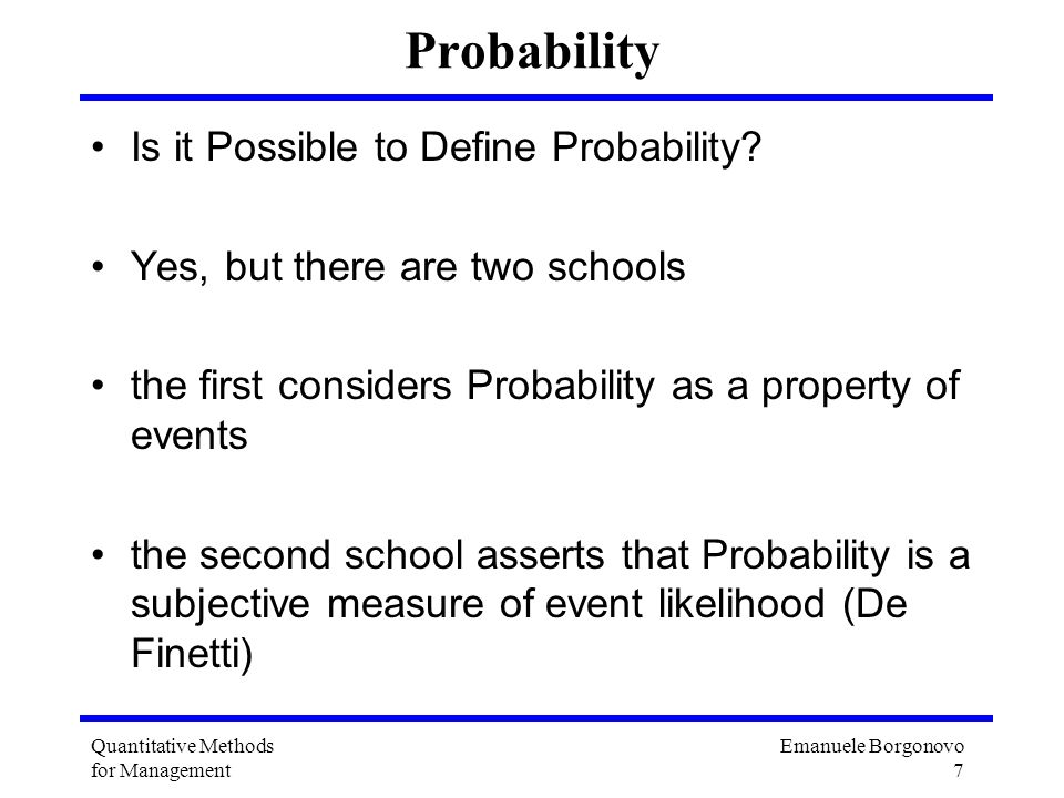 Probability Is it Possible to Define Probability