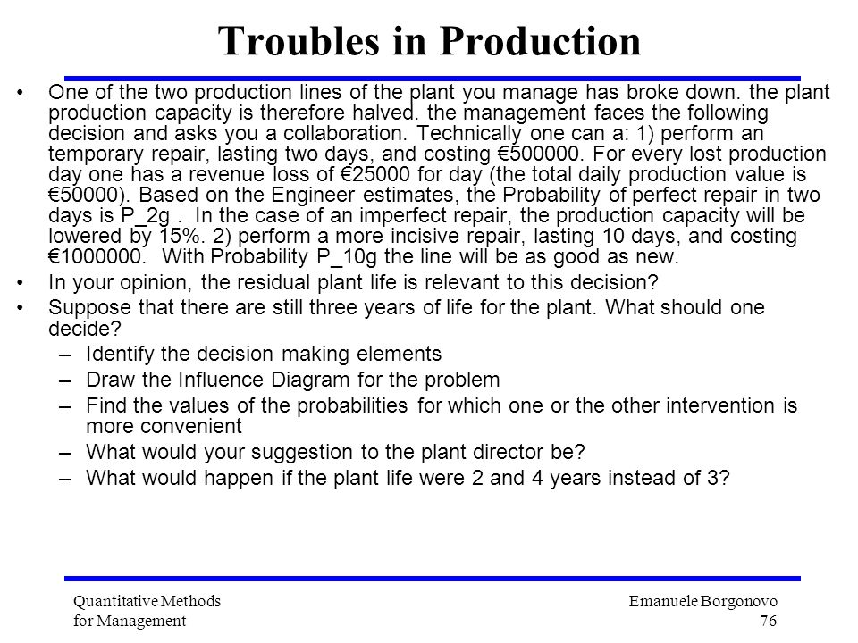 Troubles in Production