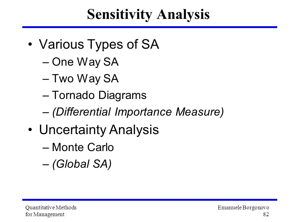 Sensitivity Analysis Various Types of SA Uncertainty Analysis