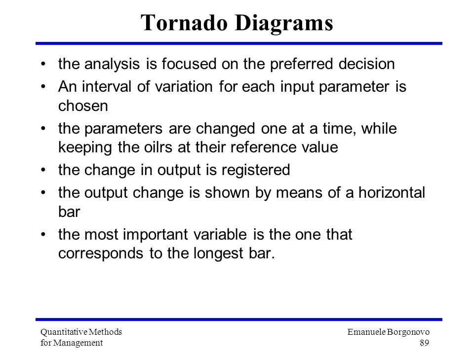 Tornado Diagrams the analysis is focused on the preferred decision