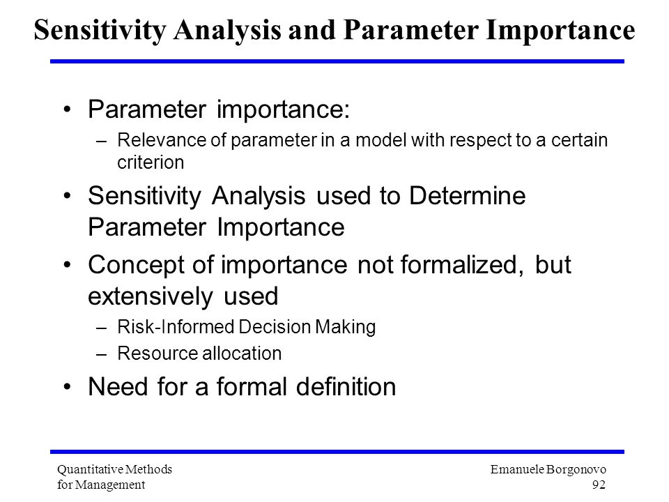 Sensitivity Analysis and Parameter Importance