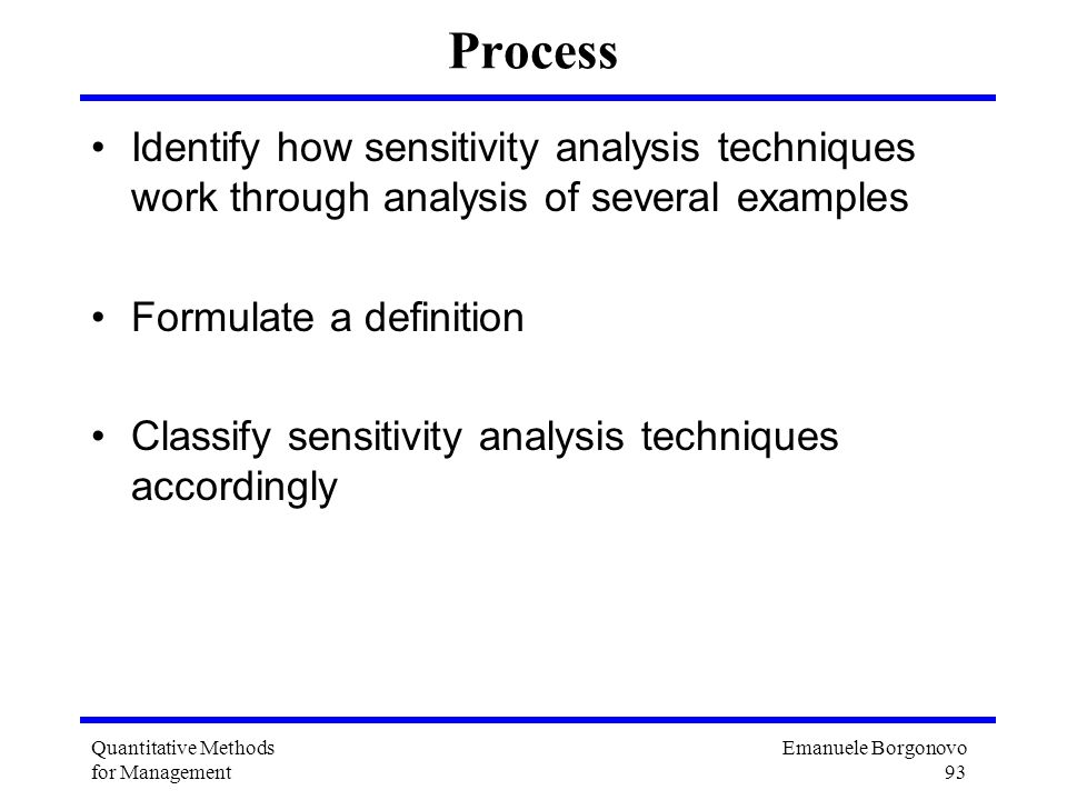 Process Identify how sensitivity analysis techniques work through analysis of several examples. Formulate a definition.