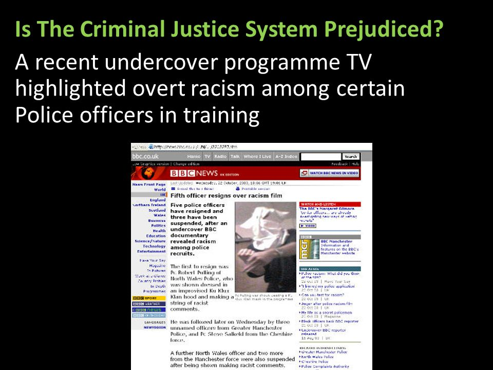 discrimination in the criminal justice system essay Racist discrimination throughout the criminal justice system (cjs) in the united kingdom (uk) is a controversial but pervasive issue there is an undeniable over-representation of ethnic minorities africa/caribbean's in particular are approximately four times as likely to be arrested as white people, even though they only represent around 2%.