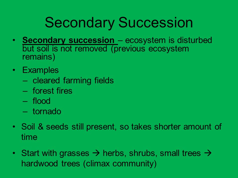 Secondary Succession Secondary succession – ecosystem is disturbed but soil is not removed (previous ecosystem remains)
