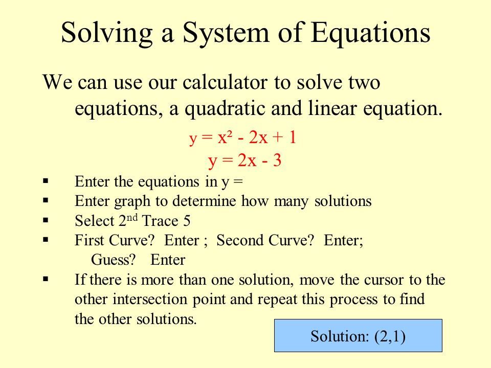 By Drawing The Line Y Solve The Equations : Solving quadratic linear systems ppt video online download