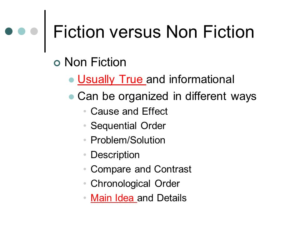 comparing non fiction How do you know if the author is an expert • compare the contents page of a  fiction and non-fiction book • look at the bibliography why might this be useful.