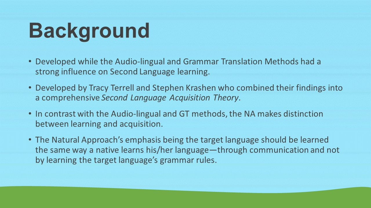 compare and contrast the grammar translation method The audio-lingual method and the grammar-translation method are two strategies and interventions that can be used for the teaching of second and foreign languages they are both.