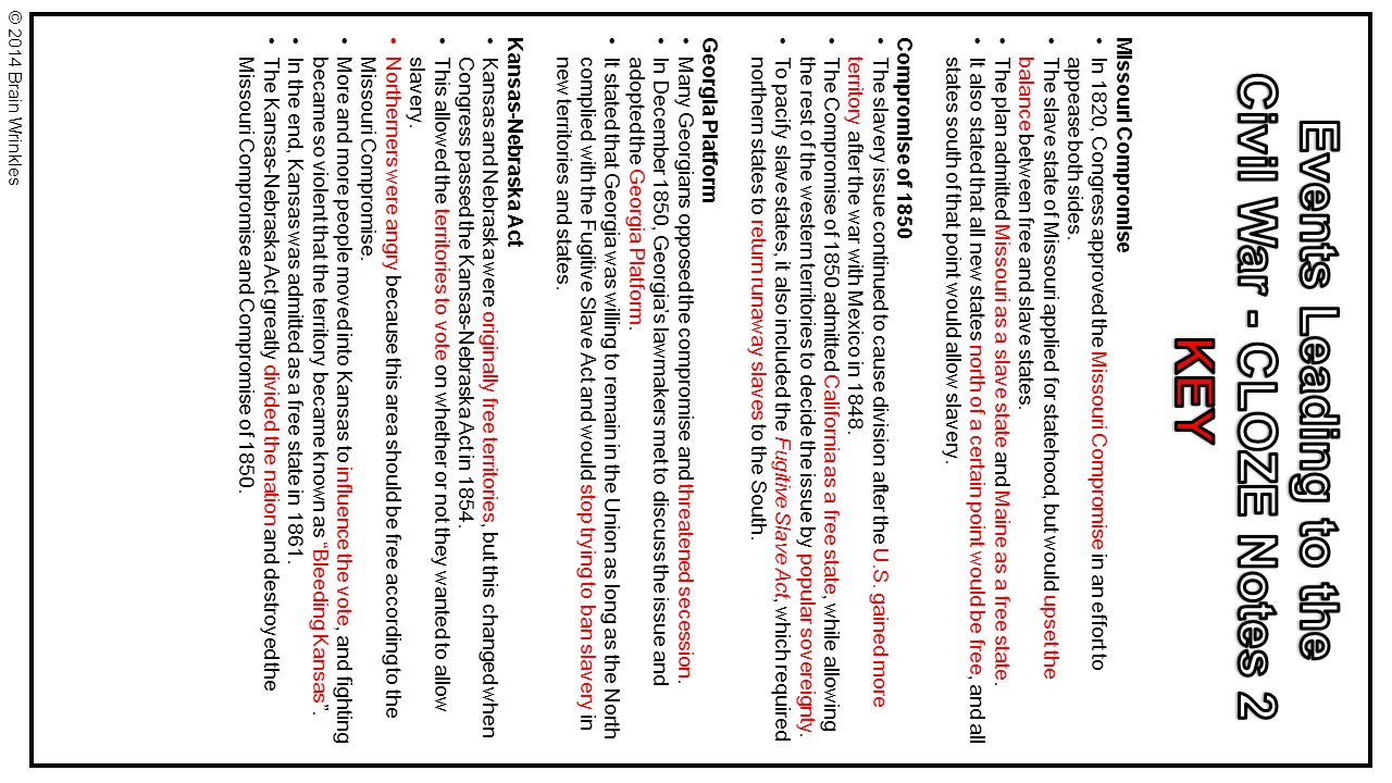 worksheet Causes Of Civil War Worksheet ss8h6a events leading to the civil war 2014 brain wrinkles ppt 11 civil