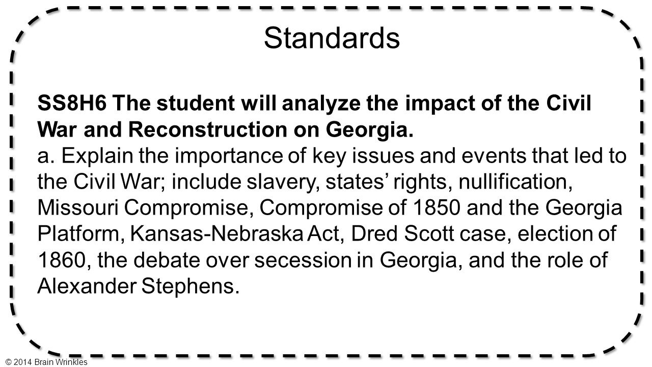 worksheet Reconstruction After The Civil War Worksheets ss8h6a events leading to the civil war 2014 brain wrinkles ppt standards ss8h6 student will analyze impact of and reconstruction on georgia