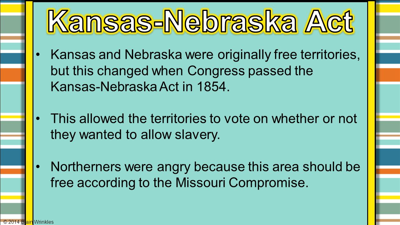worksheet The Kansas Nebraska Act Of 1854 Worksheet Answers ss8h6a events leading to the civil war 2014 brain wrinkles ppt 30 kansas nebraska act