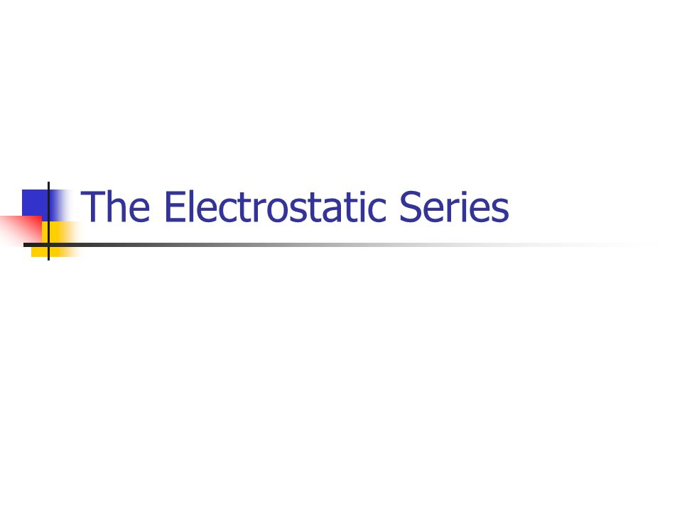 The Electrostatic Series Ppt Video Online Download