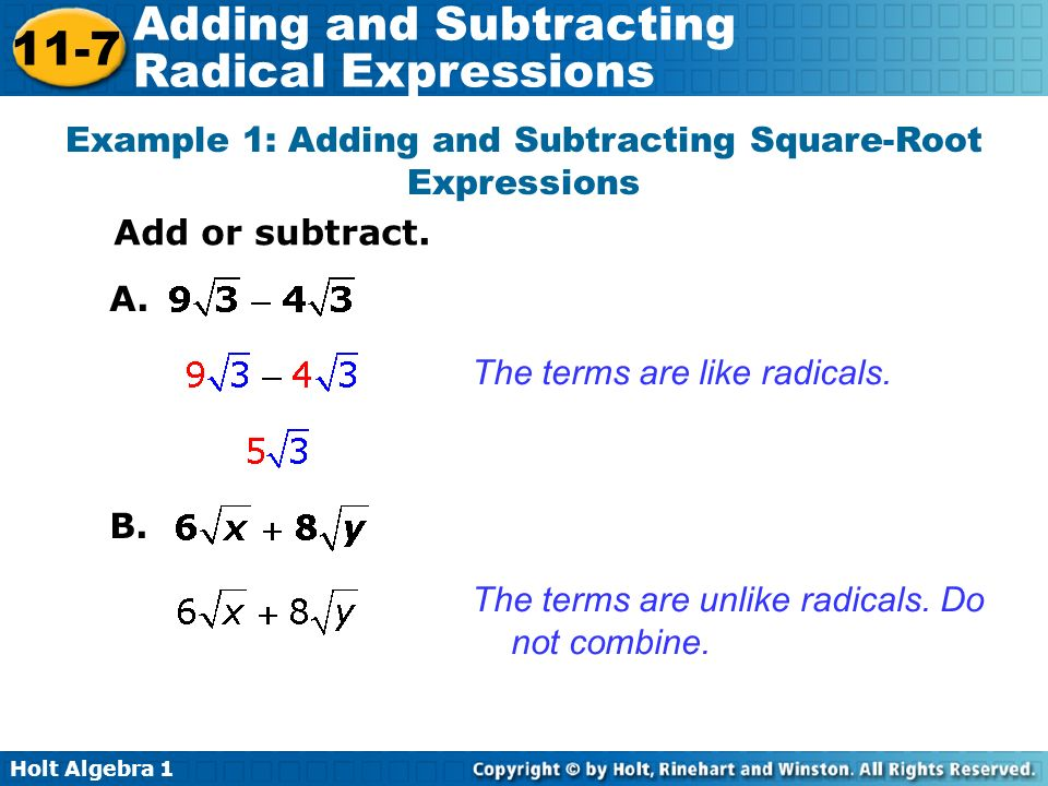 math worksheet : adding and subtracting radical expressions ppt video online download : Subtracting Square Roots