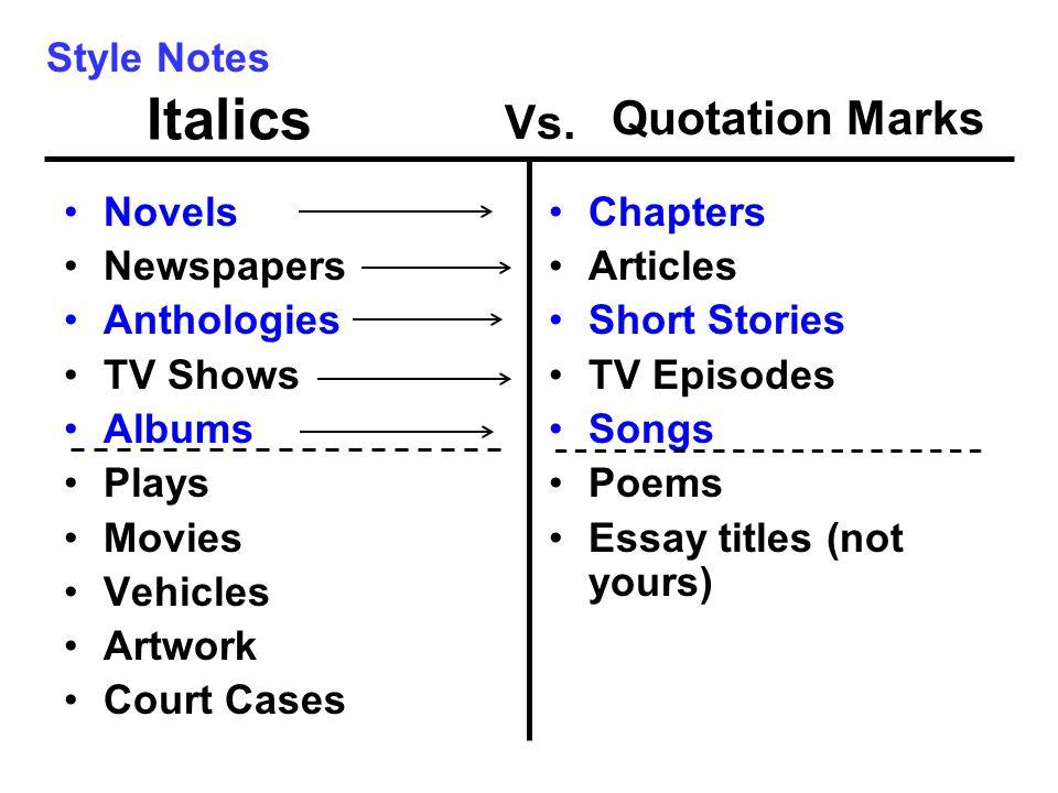 Do essay quotations