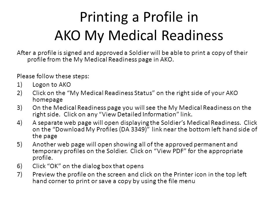 Printing a Profile in AKO My Medical Readiness