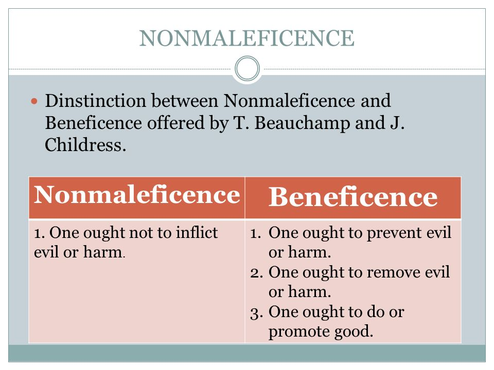 principles beneficence and non maleficence Start studying towsley- cook chapter 2 -principles of beneficence and  medical indications involving the principles of beneficence and non maleficence include the.