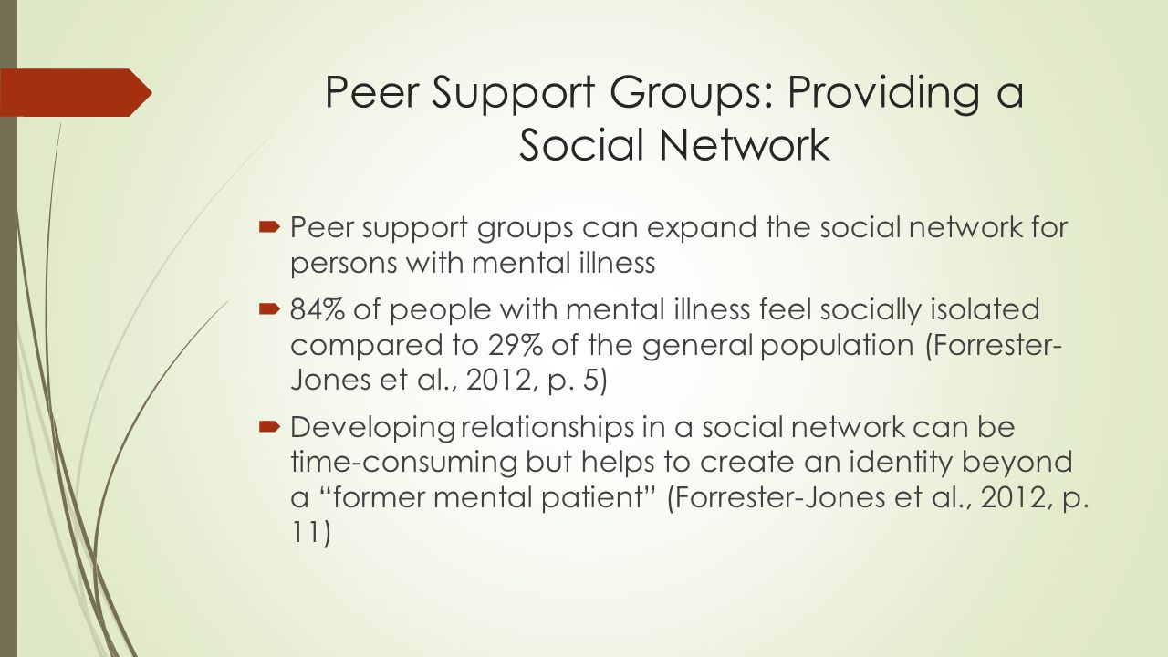 developing social support for mental health patients Having strong social systems can give patients a more  even when dealing in mental health, a strong social system  social support, social.