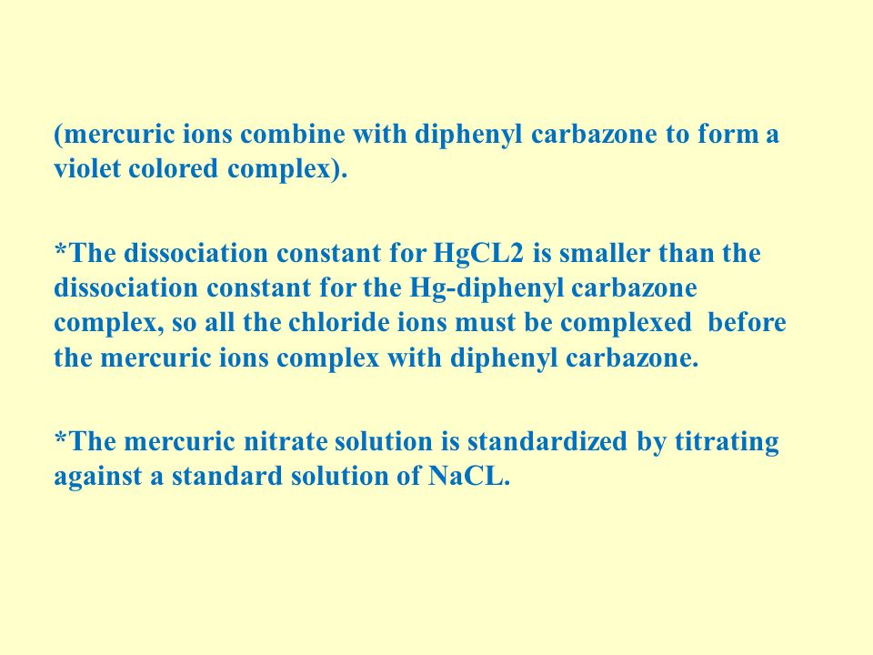 (mercuric ions combine with diphenyl carbazone to form a violet colored complex).