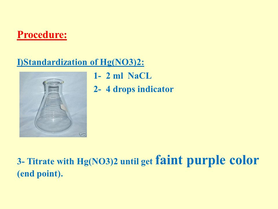 Procedure: I)Standardization of Hg(NO3)2: 1- 2 ml NaCL