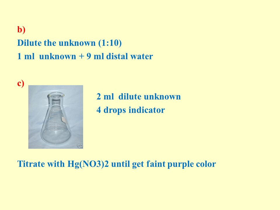 b) Dilute the unknown (1:10) 1 ml unknown + 9 ml distal water c) 2 ml dilute unknown 4 drops indicator Titrate with Hg(NO3)2 until get faint purple color