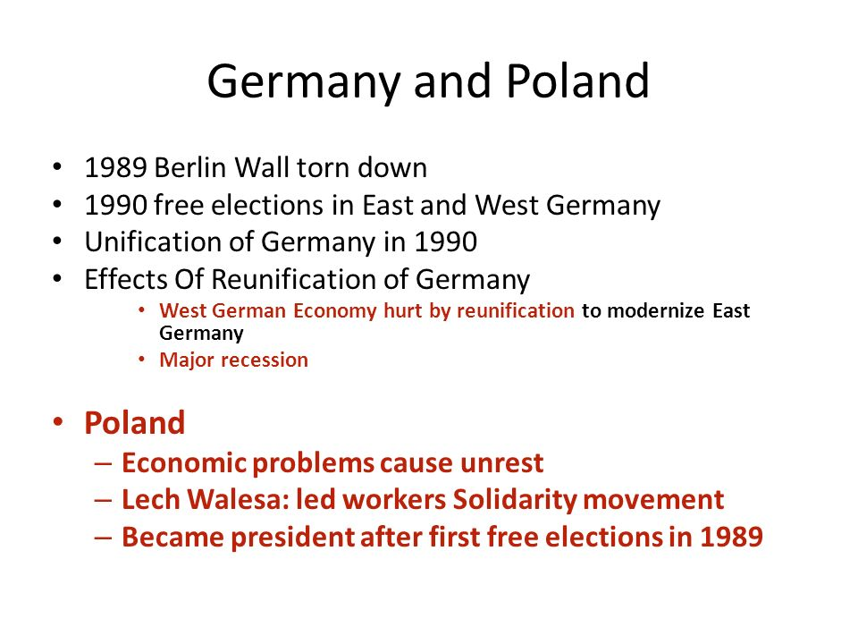 a history of the unification of east and west germany Politically, east and west germany you see what a myth that unification always was east elbian germany has voted differently ever 1 german history the west.