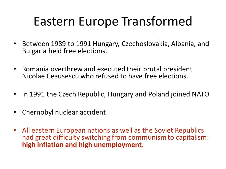 a look at the problems caused by the collapse of communism in eastern europe and the soviet union The failure of western experts to anticipate the soviet union's collapse may in part be  death of soviet communism  most of eastern europe, let.