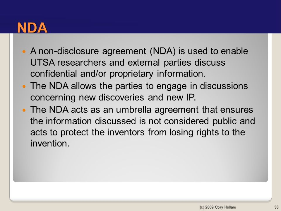 Utsa dra introduction to intellectual property ppt download nda a non disclosure agreement nda is used to enable utsa researchers and platinumwayz